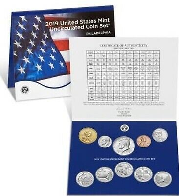 2019-P US Mint Uncirculated Set Of 10 Coins Cent-Nickel-Dime-Quarter-Half-Dollar