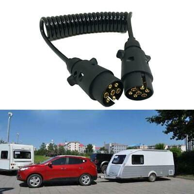 7 Pin Plastic Trailer Plug w/curly extension 1.5m Cable Male to Male 12V Trailer