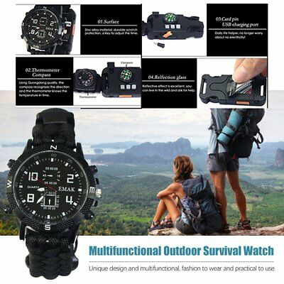 9 in 1 Survival Paracord Bracelet Watch Compass thermometer LED Whistle Light Hf