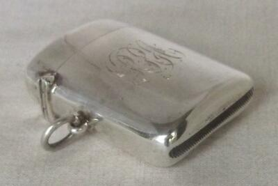 Stunning Antique Solid Sterling Silver Edwardian Chunky Vesta Case Chester 1908