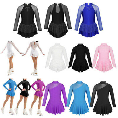 Girls Ice Skating Long Sleeve Dress Kids Ballet Gymnastics Leotard Dance Costume