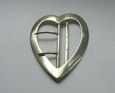 Stunning Large Antique Solid Silver Heart Shaped Buckle Chester 1900