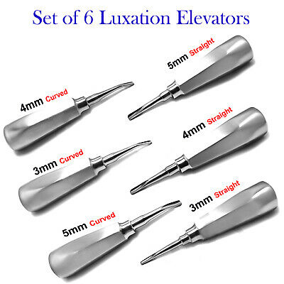 Set of 6 Dental Root Luxation Elevators Oral Surgery Tooth Extracting Instrument
