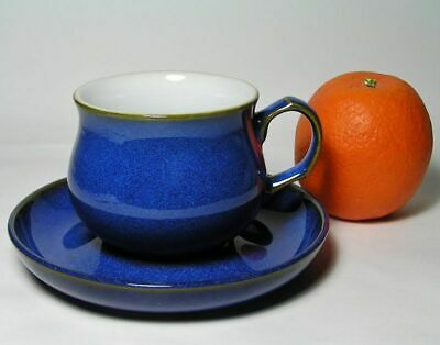 Vintage DENBY Langley STONEWARE CUP & SAUCER Duo ~ Beautiful BLUE!