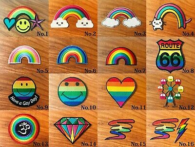 RAINBOW FLAG RIBBON EMBROIDERED PATCH GAY /& LESBIAN LGBT PRIDE IRON//SEW K-22