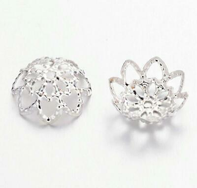 100 FILIGREE BEAD CAPS 10mm x 4mm SILVER PLATED TOP QUALITY