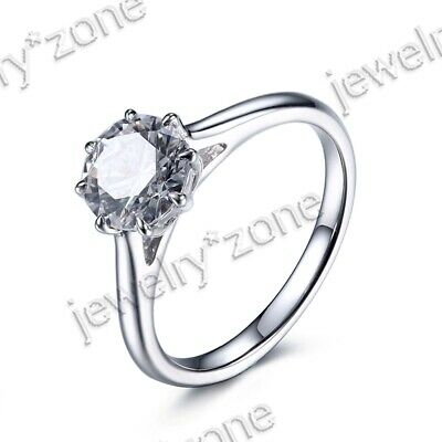 925 Sterling Silver Cubic Zirconia & Saling Classical Engagement Solitaire Ring