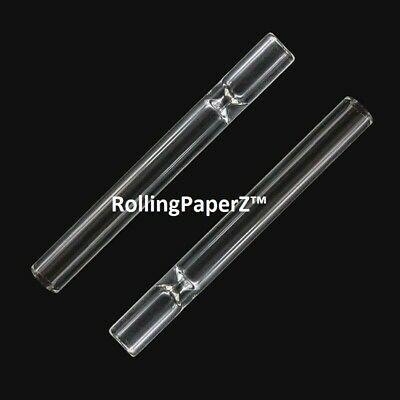 2X Reusable Clear Pyrex Glass Tobacco Pipe Chillum One Hitter