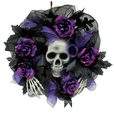 Way to Celebrate Purple Skull and Rose Mesh Halloween Wreath, 16 in