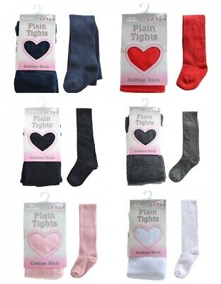Baby Girls School Party Plain Cotton Rich Tights 3M Up To 12 Years