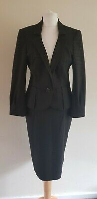 Next brown abstract patterned smart skirt suit uk 8 work occasion evening