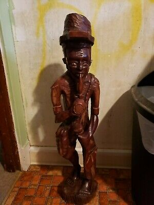 Sculpture vintage Carved wood Cane/Tobacco worker Smoking Pipe Folk Art 3'tall