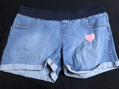 Maternity Shorts Size XL (16/18) GREAT EXPECTATIONS Denim Belly Band NWOT Cuffed