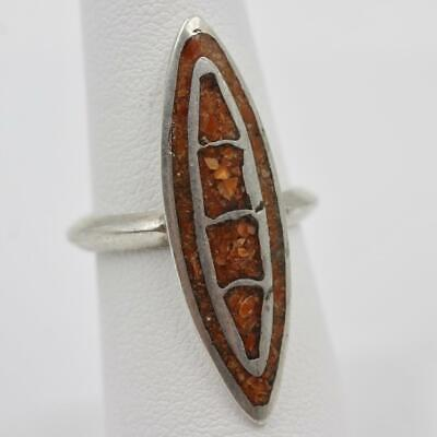 "Vintage Old Pawn Sterling Silver Inlay Stone Size 7 Handmade 1 3/8"" Long Ring"