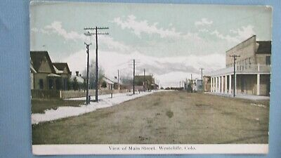 1910's Westcliffe Colorado Color Real Photo-Main Street-Mining Town
