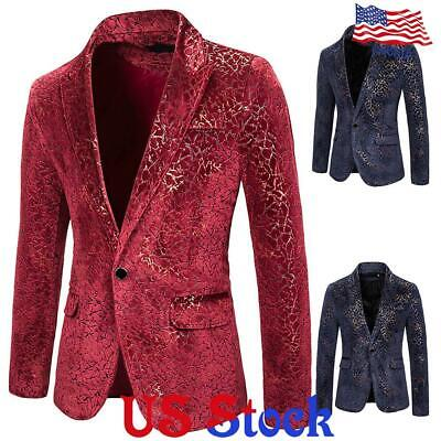 Mens Slim Suit Hot Stamping Formal Business Blazer Wedding Party Jacket Tuxedo