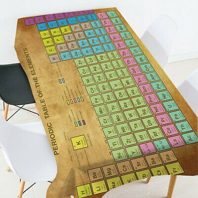 Periodic Table Of The Elements Pattern Tablecloth Fabric Waterproof Polyester ZG