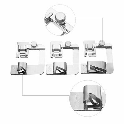 3Pcs Wide Rolled Hem Hemmer Foot For Domestic Sewing Machines Snap On Presser Lg