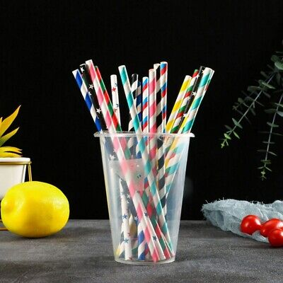 25Pcs Biodegradable Paper Drinking Straws Bulk for Juice Cocktail Smoothies AM3