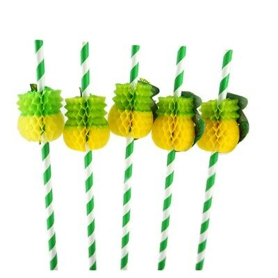 50Pcs Biodegradable Paper Bulk Disposable Pineapple Cocktail Drinking Straws AM3