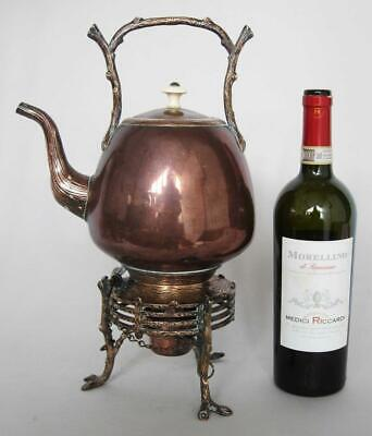 Superb Large Antique Aesthetic Movement Copper Spirit Kettle On Stand 1870