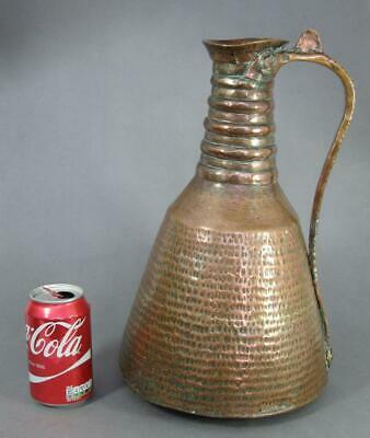 HUGE ANTIQUE ARABIC ISLAMIC COPPER EWER 1900 water jug pot vase dallah cairo