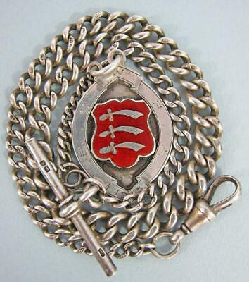 Fine Antique Solid Silver Albert Pocket Watch Chain & Essex Fob 36g 1915 a towe