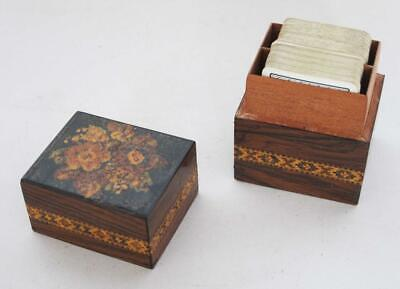 Antique Tunbridge Ware Inlaid Playing Cards Box 1870 + 2 Packs Cards