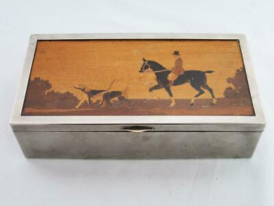 FOX HUNTING CIGARETTE BOX 1920 STUNNING ANTIQUE ART DECO INLAID MARQUETRY horse