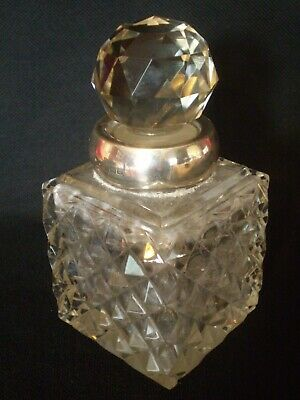 Stunning Antique Large Sized Hobnail Glass Ink Bottle With Solid Silver Collar