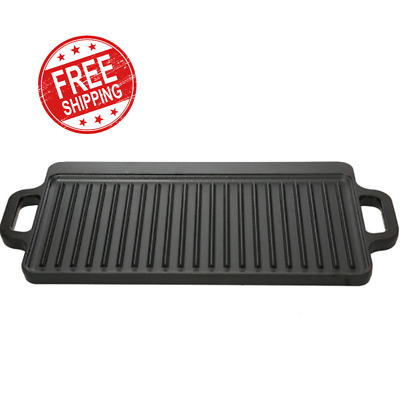 "Reversible Cast Iron Grill Griddle Pan 17"" x 9 Hamburger Steak Stove Top Fry New"