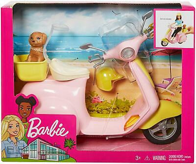 Barbie Estate Mo-Ped Motorbike For Doll, Pink Scooter, Vehicle, Multi-Colour NEW