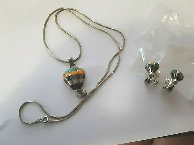 Vintage Sterling Silver Hot Air Balloon Pendant,Necklace+Matching Earring Set