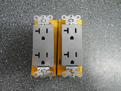 Lot Of 2 Hubbell Hbl2162Gy Duplex Receptacle Grey 20A 125V 2Pole 3Wire Grounding