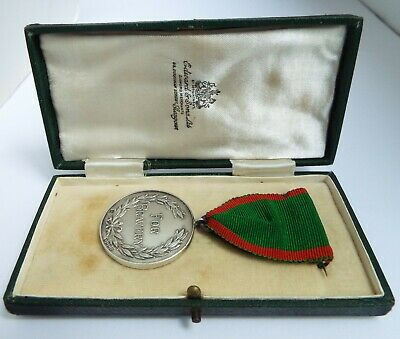 Fine Scottish Antique 1940 Solid Sterling Silver Bravery Medal Orig Box Of Issue