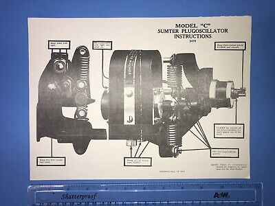 "SUMTER Plugoscillator Model ""C"" Instruction Chart Hit Miss Engine"