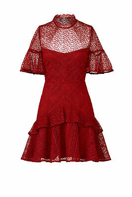 Amur Red Women's Size 6 Tiered Lace Mock Neck Open Back A-Line Dress $448- #880