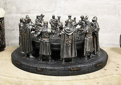 """Medieval King Arthur and The Knights of The Round Table Decorative Statue 11""""D"""