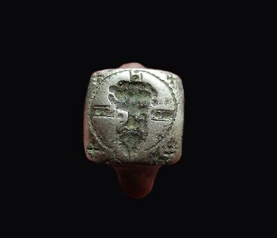 ** AMAZING  ** Ancient Byzantine  SILVER SEAL Ring