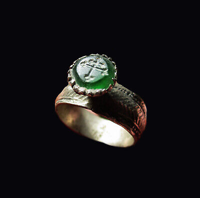 ** EXCELLENT  ** Ancient Byzantine  SILVER  Ring  ** DOUBLE CROSS ** Green stone