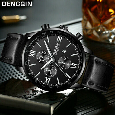 Men's Leather Military Casual Analog Quartz Date Wrist Watch Business Watches US
