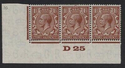1924 1½d RED BROWN BLOCK CYPHER CONTROL STRIP OF THREE. SG 420