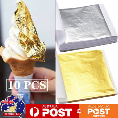 10x Pure 24K Edible Gold Silver Leaf Sheets Cooking Framing Art Craft Decorating