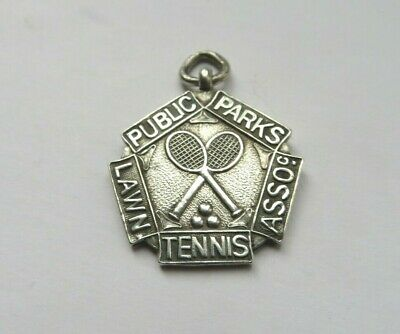 Antique Silver Watch Chain Fob Medal 1922 Public Parks Lawn Tennis Association