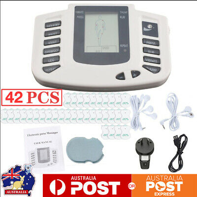 42Pc Tens Machine Digital Therapy Full Body Confort Massager Pulse Pain Relief