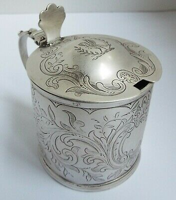 Handsome Large Heavy English Antique Georgian 1818 Sterling Silver Mustard Pot