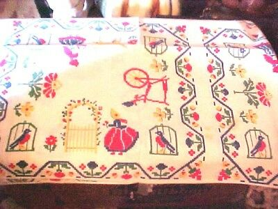 NOS Vintage FRUIT AND FLOWERS DESIGN LUNCHEON TABLECLOTH - 36 BY 40 INCHES