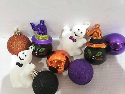 Halloween Black Cat Ghost Ball Tree Ornaments Decorations Set of 9