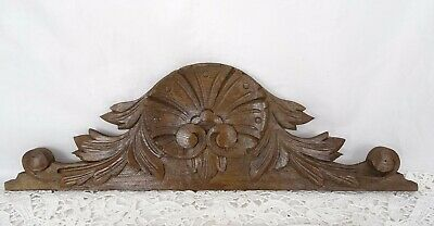"""15""""  Antique French Hand Carved Wood Oak Pediment - Shell"""