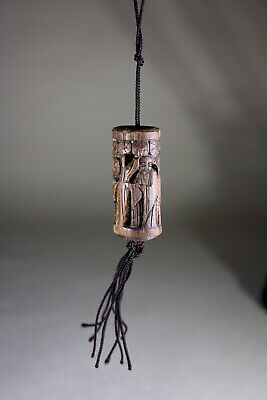 Antique Chinese Wood Carved Toggle Pendant Scholars in Woodland 1800s